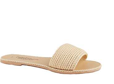 Complete your look with a pair of cream braided mule sandals