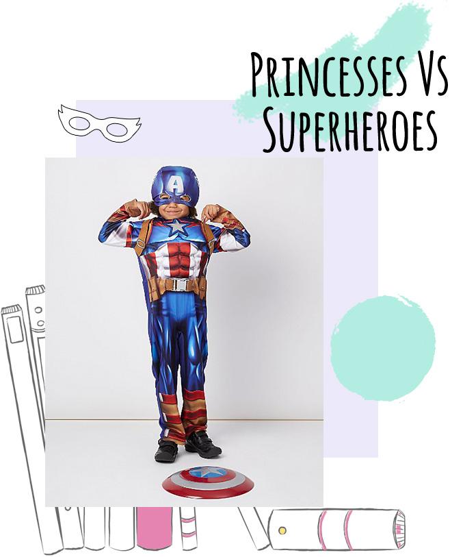 A boy wearing a Captain America fancy dress costume