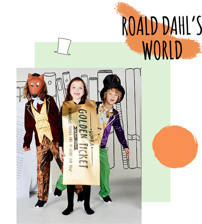 A boy wearing a Fantastic Mr Fox fancy dress costume, a girl wearing a Willy Wonka golden ticket costume and another boy wearing a Roald Dahl Willy Wonka costume