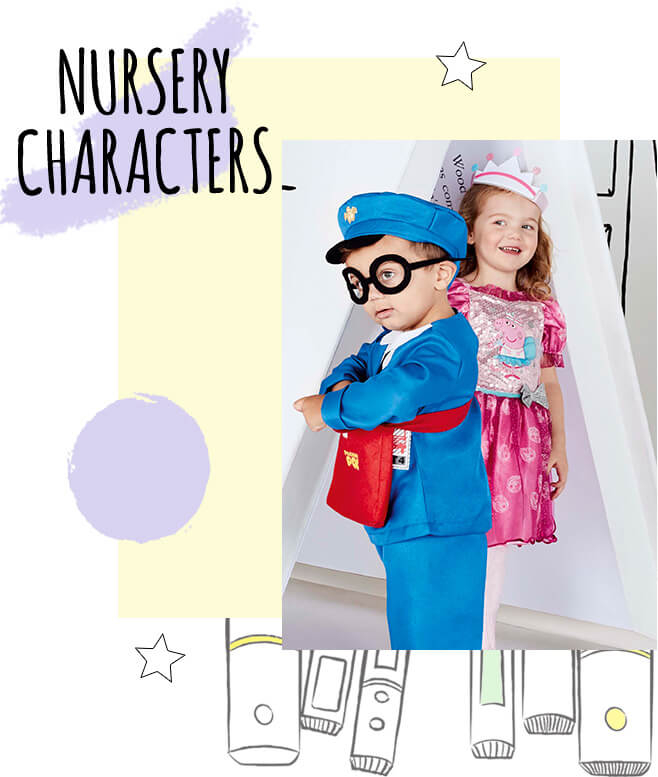 A boy wearing a Postman Pat costume and a girl wearing a Peppa pig fancy dress costume