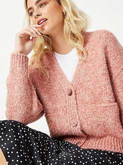 This boxy pink cardigan is as cosy as it is stylish