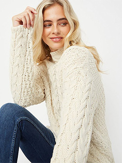 This modern take on the classic cable knit sweater is guaranteed to keep you feeling cosy all season long