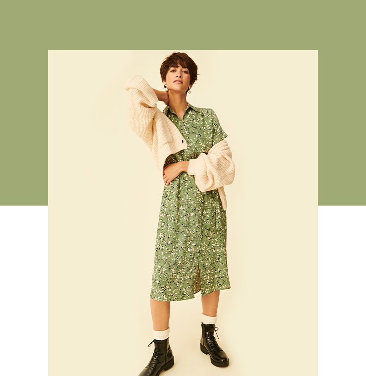 Pair a green shirt dress with knitwear on those in between weather days