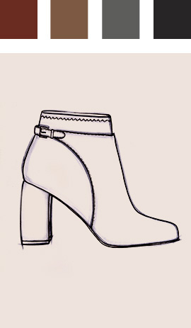 Sketch of ankle boot with colour chart above