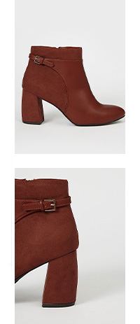 Side shot of tan ankle boot and a close up shot of side heel