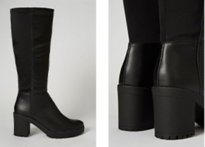 Black leather look knee high boot heels and close up shot of heels