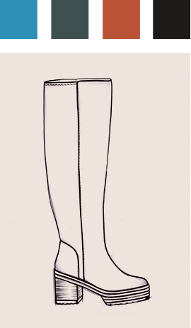 Sketch of knee high boot with colour chart above