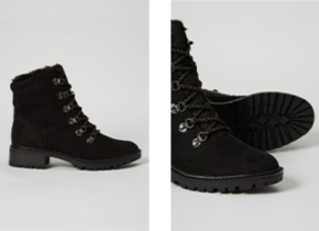 Shot of black boot and close up of the front of boot
