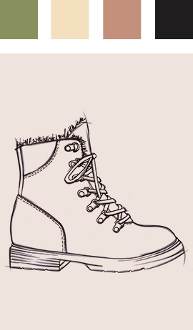 Sketch of boot with colour chart above