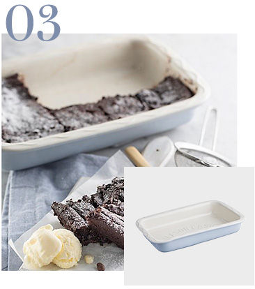 Baking dish with eaten brownie