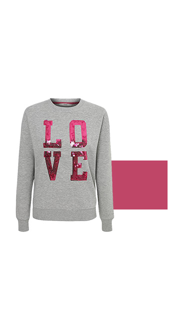 Product shot of grey jumper with a pink sequin 'Love' sign
