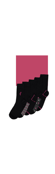 Product shot of five black socks