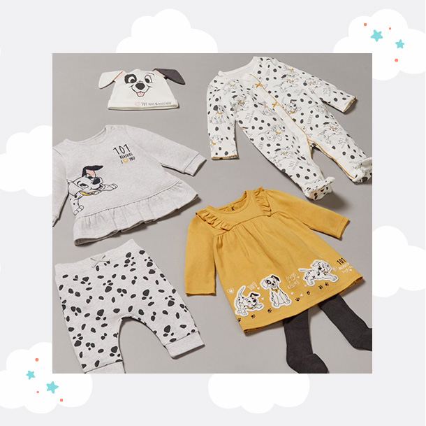 Matching Disney 101 Dalmatians clothing, including an all in one, bottoms, dress and more