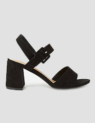 Black faux suede platform sandals