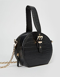 Black mock croc circle box bag