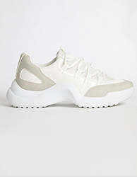 White retro chunky hiker trainers