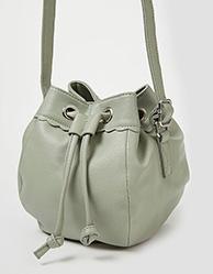 Green drawstring crossbody bucket bag