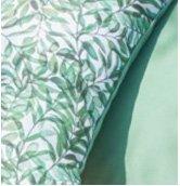 Close up of a leaf print cushions