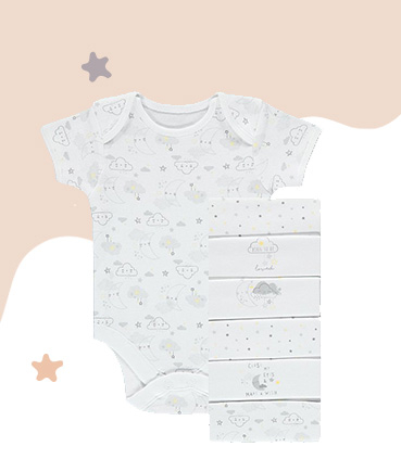 Made from 100% cotton, this pack of 7 bodysuits features moon and star designs