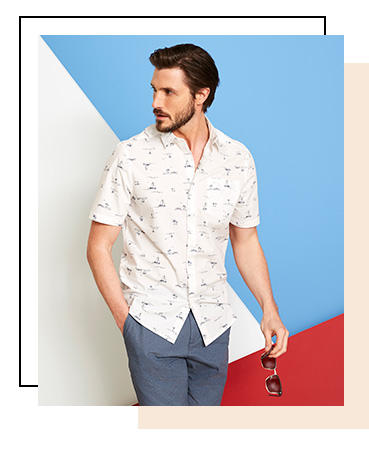 Embrace summer vibes with this white casual shirt, designed with an all-over sail boat print