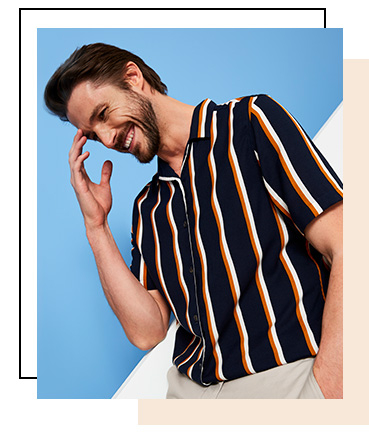 In a lightweight weave that's perfect for balmy nights, this striped casual shirt is a warm-weather essential