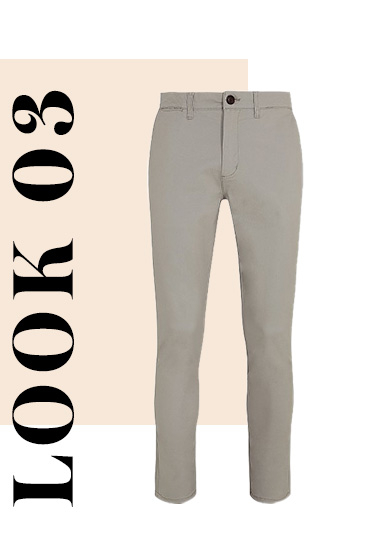 Versatile and comfortable, these slim fit chinos come in a neutral stone shade