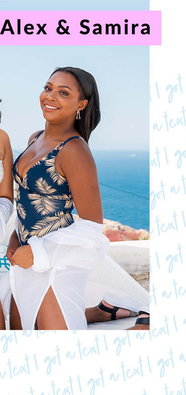 Channel Alex and Samira vibes with a gold effect striped swimsuit or navy palm print option