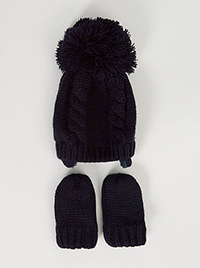 Product image of black bobble hat and mittens set