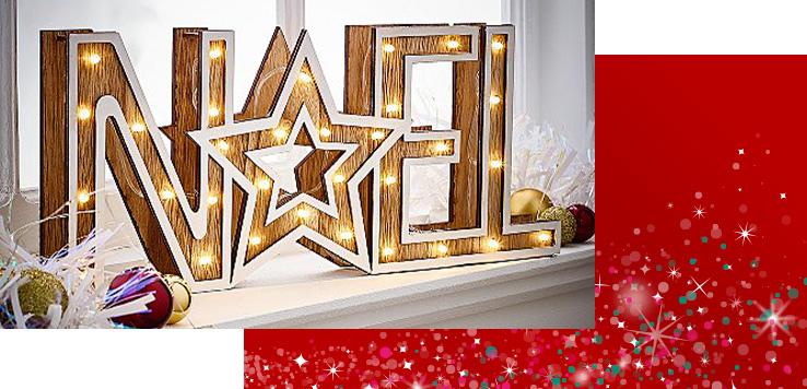 Wooden 'Noel' Christmas light ornament