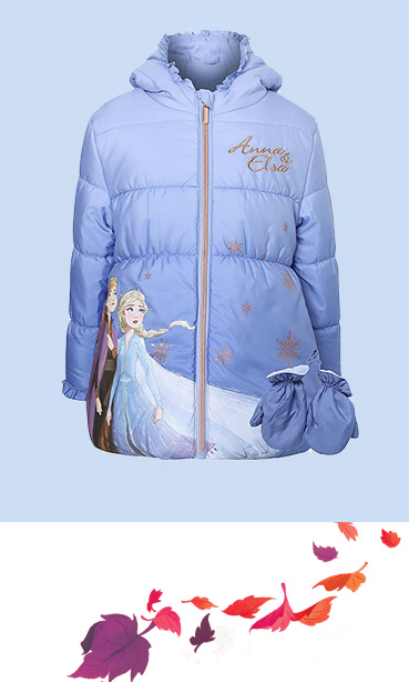 Product image of blue Disney Frozen coat with matching mittens