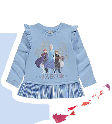 Product image of blue Disney Frozen frilled hem sweatshirt