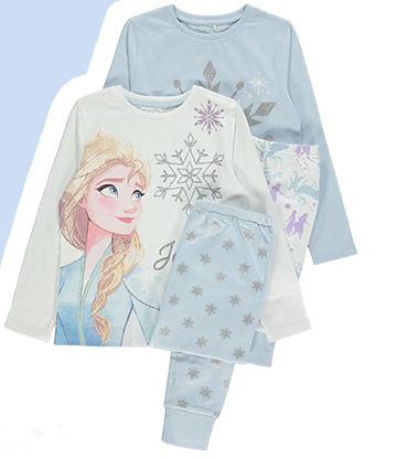 Product image of two blue Disney Frozen pyjamas