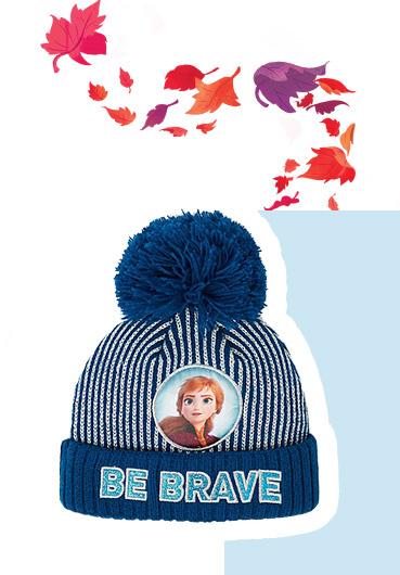 Product image of blue Disney Frozen 'Be brave' slogan shimmer bobble hat