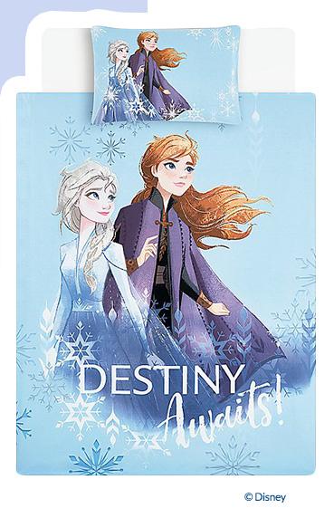 Product image of blue 'Destiny awaits!' slogan Disney Frozen duvet set