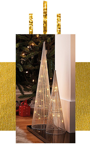 Two gold cone-shaped Christmas lights next to a Christmas tree