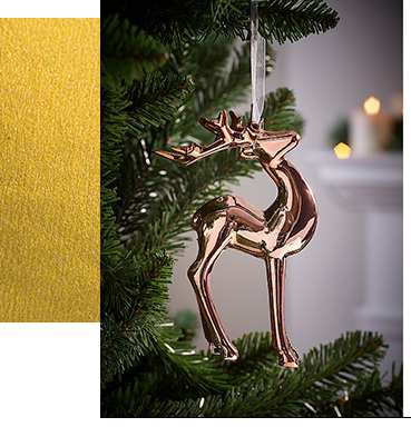 Rose gold reindeer bauble on a Christmas tree