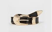 Black bead edged western shell buckle belt