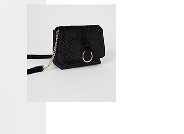 Black velour boxy mini cross body bag