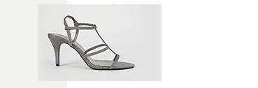 Silver glitter cage heel sandals