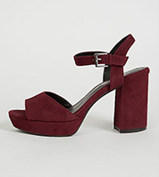 Burgundy velvet effect platform sandals
