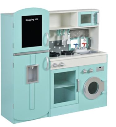 A wooden toy kitchen set