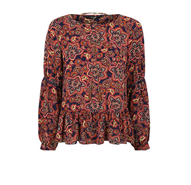 Paisley Print Blouse with Necklace