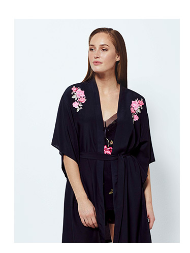 Embroidered Sheer Waterfall Dressing Gown