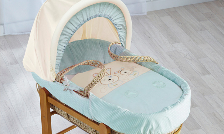 Kinder Valley Deluxe Picnic In the Park Blue Moses Basket- Baby Blue