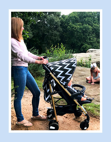 At the park with a blue pushchair