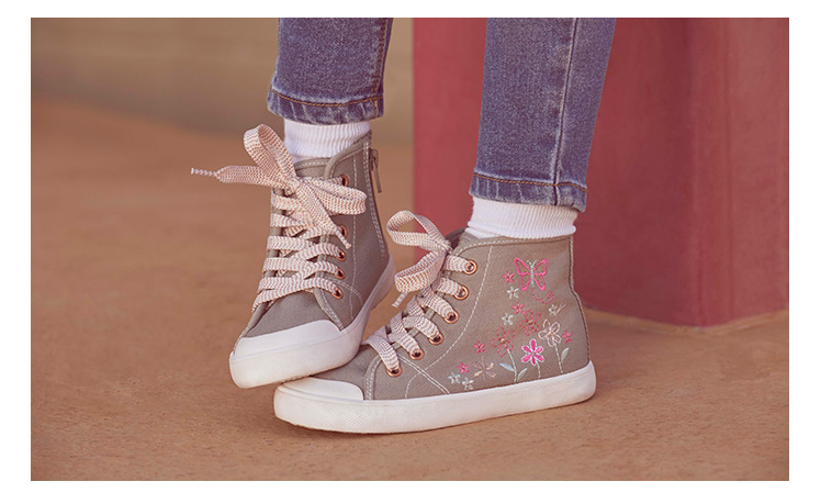 Embroidered Floral High Top Trainers