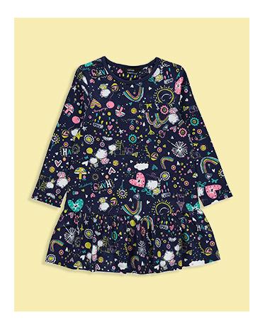 Printed Frill Hem Dress