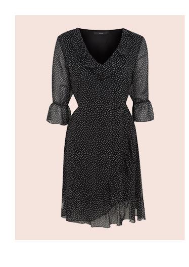 Ruffle Trim Spot Print Dress