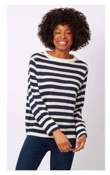 A model in a Wool Nautical Stripe Jumper