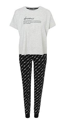 Woman's pyjamas with white slogan t-shirt and black patterned leggings